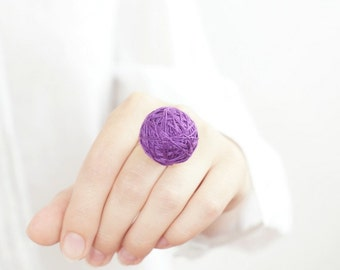 Purple fabric ring cotton textile natural geometrical white
