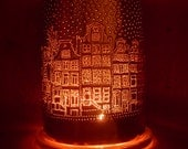 Copper anniversary, copper home decor, Amsterdam town houses, Amsterdam, town houses, city scape, copper lantern, copper lamp, personalized