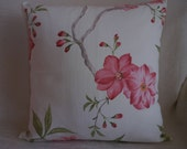 Pink Flowers Double Option Decorative pillow 18x18 inches Canvas Fabric Reversible Use Handmade cushion cover Double Option Print