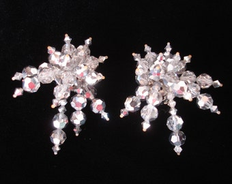 Vintage Earrings Glass Mirror Beads Clip On