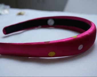 1980's Pink Polkerdot Satin Effect Wide Hairband