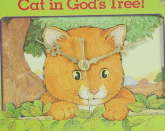 There's A Cat in God's Tree, Wall Clock, Peek-In Board Book, Children's Book, Geekery, Clocks by DanO