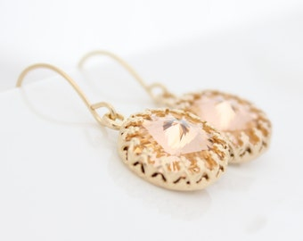 Gold earrings set with light peach Swarovski crystals | Gifts for her | Bridal earrings