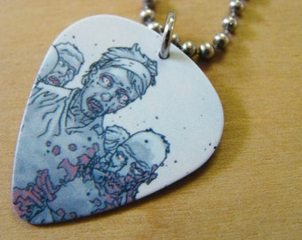 Zombie Group - The Walking Dead Guitar Pick Necklace 30 Inch Stainless Steel Ball Chain