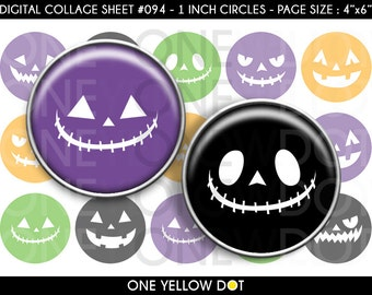INSTANT DOWNLOAD - 1 Inch Circles Digital Collage Sheet - Halloween Pumpkin Face - Bottle Caps Scrapbooking Pendant Magnets Tags - 094