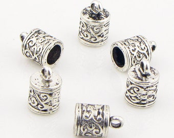 Cord Ends, 6mm hole,antique silver alloy,13mm long, 8.5mm wide, 10 pieces