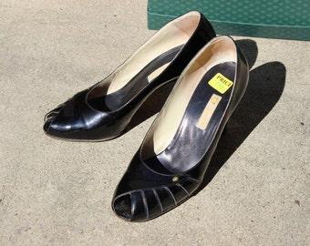 Vintage Gucci Black Patent Leather Peep Toe Shoes Heels Sz 7 1/2