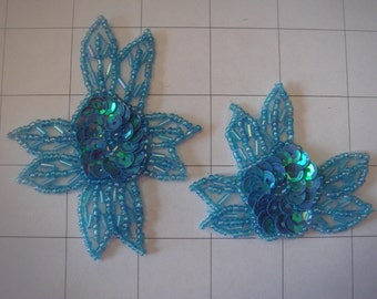 2 Piece Light Blue Flower Applique Set of 2 Beaded and Sequins