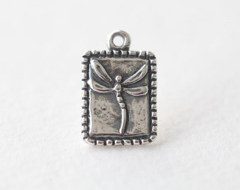 Sterling Silver Rectangle Dragonfly Tag Charm - 925 lightly oxidized dragonfly pendant