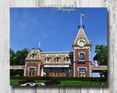 """Lustre Print """" Main Street Train Station"""" Digital Photography to Watercolor Painting on Canvas Effect 8X10 16X20 with Foamcore Mount Options"""
