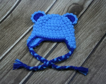 Blue Crochet Bear Hat Baby Boys