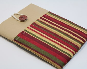 Macbook Air 13 inch Sleeve Macbook Pro 13 inch Case Laptop Cover Sleeve Foam Padded Custom fit Handmade Cover- Red Green Stripes