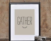 GATHER // Holiday Art Print // Thanksgiving Wall Art Home Decor // Modern Minimalist Natural Holiday Home Goods //