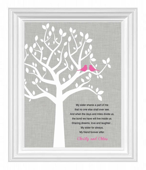 SISTERS personalized printWedding Gift for Sister- 8x10Birthday ...
