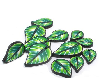Leaf beads for Cha Cha bracelets, earrings and more, Green leaf shaped beads with gold, Polymer clay set of 12 flat leaf beads