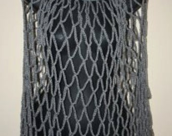 Cowl Neck, Open Weave Poncho