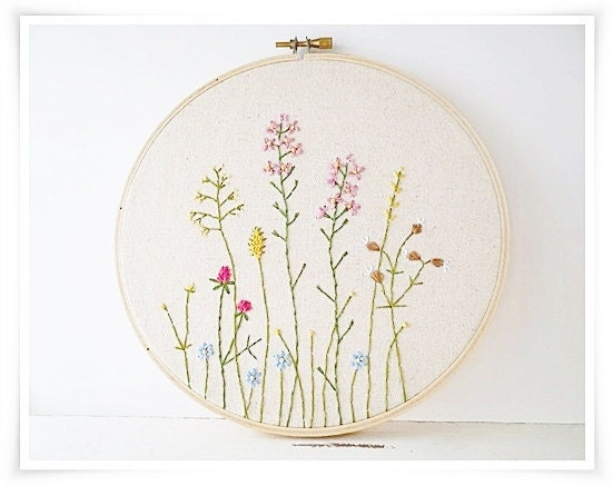 Japanese wild flower garden hand embroidery in hoop wall art for Garden embroidery designs free