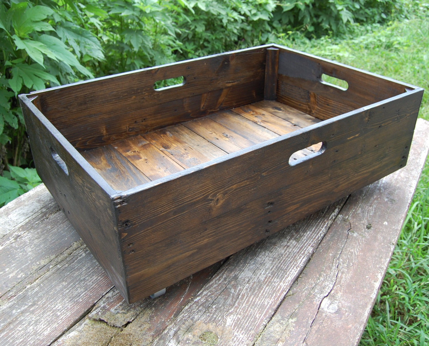 Under Bed Storage Rolling Crate/ Reclaimed Wood/