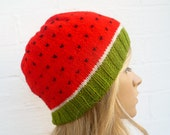 Watermelon Beanie Hat - Hand Knitted Hat - Women Men Water Melon Beanie - Fruit Kawaii Knitted Hat - Clickclackknits