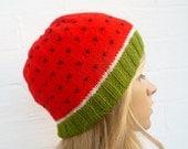 Water Melon Beanie Hand Knit Hat, Women Men Water Melon Beanie Hat, Fun Fruit Kawaii Knitted Hat, Clickclackknits