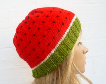 Watermelon Beanie Hat - Hand Knitted Hat - Women Men Water Melon Beanie - Fruit Kawaii Knitted Hat - Clickclackknits