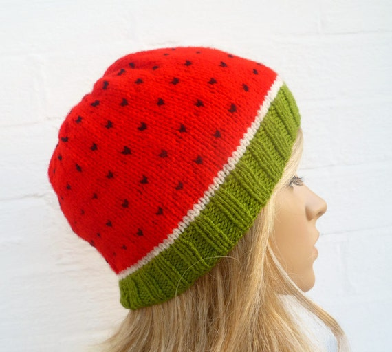 Watermelon Beanie Hat Hand Knitted Hat Women Men Water