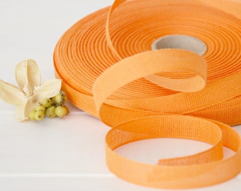 "Melon Cotton Ribbon - 3 or 6 Yards of 100% Cotton Ribbon - 1/2"" wide - Orange Ribbon - Buy More and Save - Eco Friendly Cotton Ribbons"
