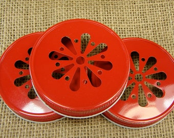 Red Daisy Cut Mason Jar Lids - 6 Lids Only....DLR-6