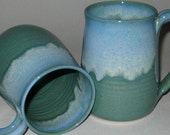 Pottery Mug, XL 20 oz in Blue Sage Green, Handmade, Microwave Dishwasher Safe