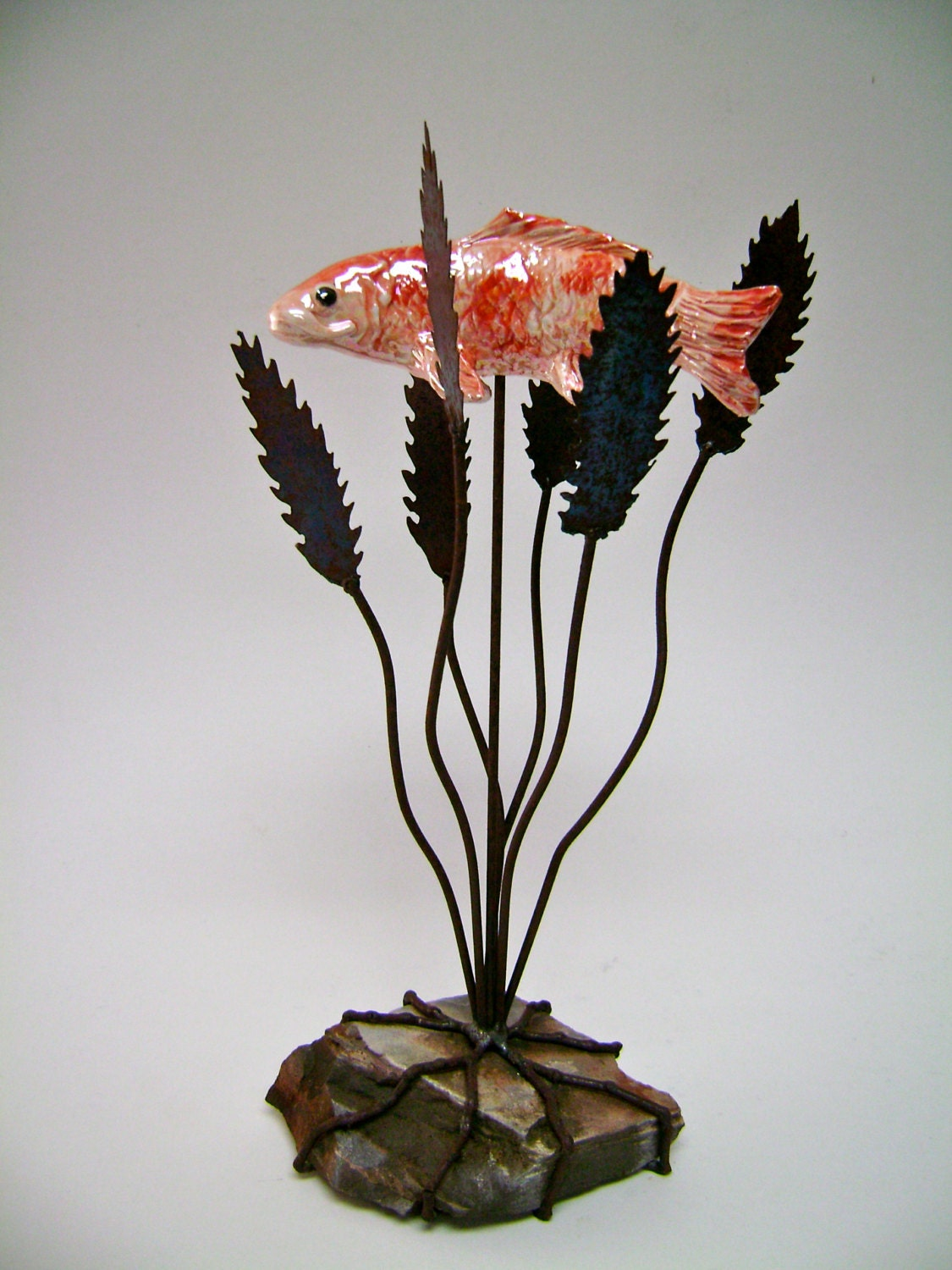 Koi sculpture metal sculpture ceramic metal sculpture for Koi fish metal art