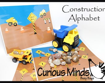 PDF File - YOU PRINT - Busy Bag - Construction Alphabet Matching Learning Game (you supply truck and rocks)