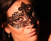 Black New Year Eve Leather Masquerade Mask -  Filigree Venetian Masked ball Perfect for Fancydress party, Festivals, Halloween