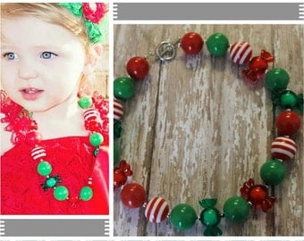 Christmas Chunky Bead Necklace, Red, Green, Candy Children's Necklace, Beaded Gumball Necklace, Girls Baby Necklace, Photo Prop