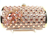 Peach and Gold Crystal Rhinestone Bridal Clutch, Wedding Purse, Evening Clutch