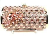 Peach and Gold Crystal Rhinestone Bridal Clutch, Wedding Purse, Evening Clutch
