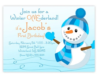 Snowman Invitation - Blue Snow Pile, Little Winter ONEderland Boy Snowman Personalized First Birthday Party Invite - Digital Printable File