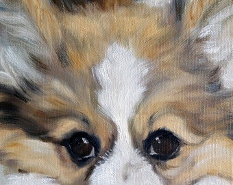 """PRINT Pembroke Welsh Corgi Dog Puppy Art Print of oil Painting Gift / Mary Sparrow of Hanging the Moon """"Corgilicious"""""""