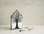 The Tree of Life Small Wooden House Hand Pained,Black White Brown, Small Wooden Ornament,Hand Made House Rustic Home Decor Ornament
