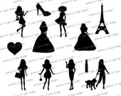 Items similar to Barbie Silhouettes // Barbie, Heart ...