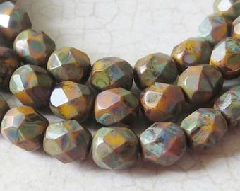 Czech Beads, Autumn Mix, Yellow Rust Brown Picasso 6mm Czech Fire Polish Glass Round Beads, 30 Pieces