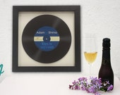 "Personalised Wedding Guest Book First Dance Framed Print Gift Vinyl 12"" Album Retro Record Rock and Roll Music Lovers"