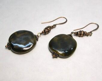 Artisan Ceramic Bronze Copper Beaded Dangle Earrings African Kazuri Bead Jewelry