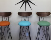 "Custom for Evan Azus , 2 bar height 30"" stools , 1 green and 1 blue. shipped UPS"