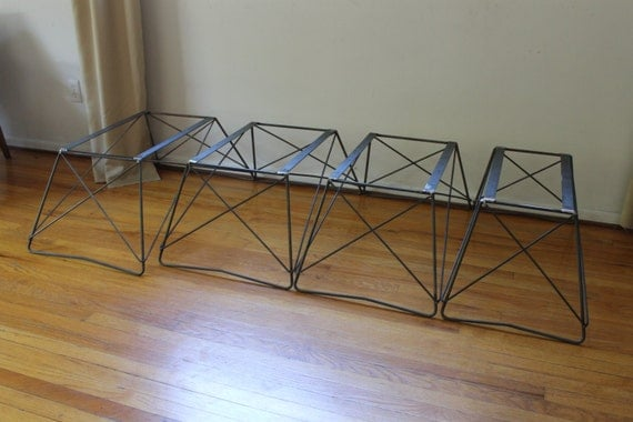 Attractive Mid Century Cats Cradle Coffee Table Base   Raw Steel  Base Only