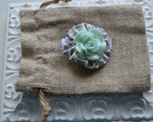Baby Girl/ Toddler girl hair clip/ barrette/ hair bow/ alligator clip- Teal and grey cabochon flower