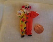 "Tiny clown, 3"" tall with glass body  Excellent condition"