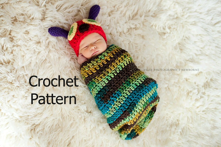 Crochet Caterpillar Hat Pattern : CROCHET PATTERN Caterpillar Hat and Cocoon Photo Prop Set