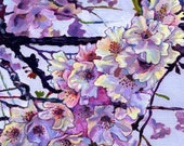 Giclee Canvas PRINT 5x7 - The Cherry Branch - Pink Purple Flower Signed Limited Edition