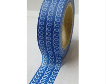"CLEARANCE Washi Tape ""Curly""  in Blue  10 Meters"