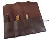 Leather Watch Roll, Watch Pouch, Watch Case, Tool Roll, Roll Pencil Case , 4 Slots, Brown Italian Leather,  Handmade in Italy by Feltapp